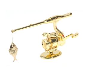 Зажигалка настольная, рыбалка, золото